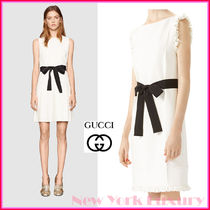 GUCCI★グッチ★素敵!WHITE PLEATED DETAIL RIBBON BELT DRESS