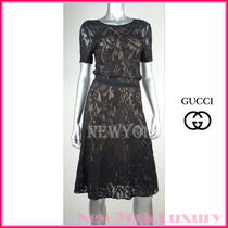 GUCCI★グッチ★素敵!BLACK LACE SHORT SLEEVE LINED DRESS