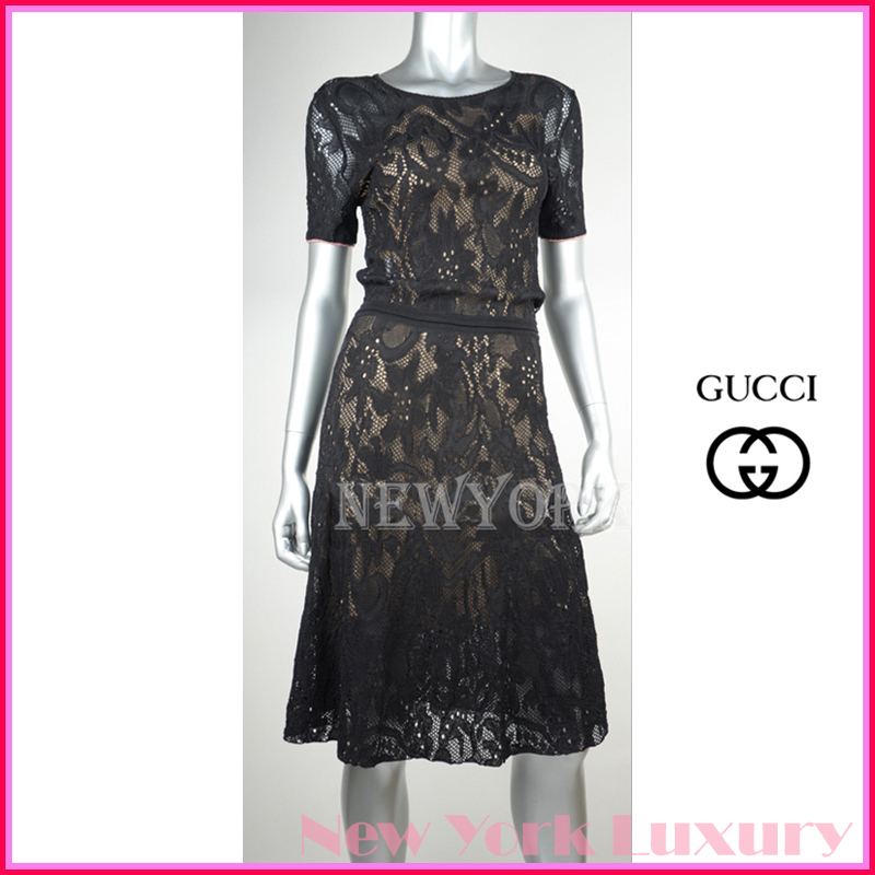 GUCCI★グッチ★素敵!BLACK LACE SHORT SLEEVE LINED DRESS (GUCCI/ワンピース) 411346