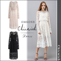 【国内発送・関税込】Chicwish★The Embroidery Mesh Midi Dress