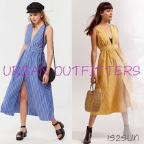 ☆日本未入荷☆ UO/ Striped Button-Down Plunging Midi Dress