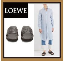 【LOEWE】Logo-embossed leather slides★ロゴサンダル
