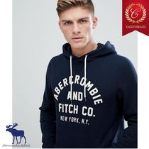◆Abercrombie&Fitch アバクロ フロック ロゴ入り パーカー Navy