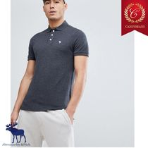 ◆Abercrombie&Fitch アバクロ ムースロゴ Polo シャツ Charcoal