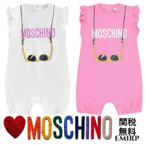 18SS☆Moschino★フリル袖サングラスロゴショートロンパース