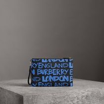 18SS Graffiti Print Leather Zip Pouch