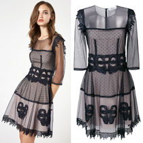 Blumarine(ブルマリン) ワンピース 18SS BM038 LOOK10 BOW EMBELLISHED TULLE DRESS