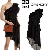 【RUNWAY】GIVENCHY★Ruffled oneshoulder silk-georgette dress