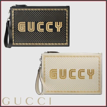 GUCCI (グッチ) GUCCY プリント レザー ポーチ 2色