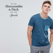 SALE【A&F】半袖 ロゴ ボーダーTシャツ ブルー / 送料無料