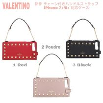 先取り★ロゴ/Studs【送込VALENTINO】iPhone7+/8+★Chain付Strap