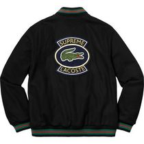 18S/S Supreme Lacoste Wool Varsity Jacket Black ラコステ