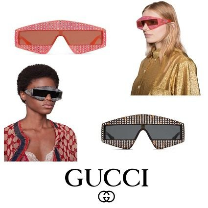 c6f6ca3043 GUCCI サングラス  GUCCI Rectangular-frame acetate sunglasses with crystals ...
