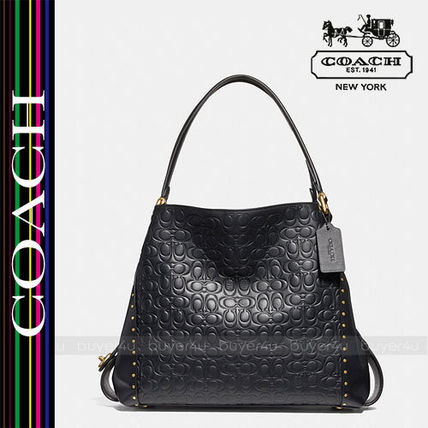 COACH★EDIE SHOULDER 31 SIGNATURE LEATHER RIVETS 31866