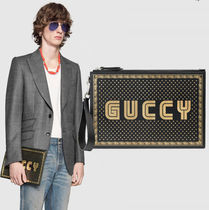 GUCCI グッチ GUCCY プリント レザー ポーチ クラッチバッグ