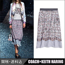 COACH★COACH×KEITH HARING プリント スカート  ライトブルー