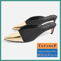 TOPSHOP★関送込メタリックトゥVカットミュール(黒)