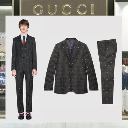 save off 1261a 6d5d7 18SS GUCCI ☆Monaco bees ウールチェック セットアップスーツ