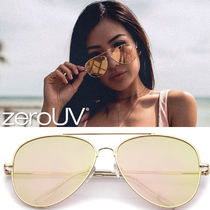 全7色*zeroUV*LARGE FLAT FRONT MIRRORED LENS AVIATOR SUNGLAS