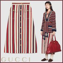 GUCCI(グッチ) Gonna lunga in denim rigato スカート