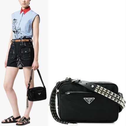 PR1109 STUDDED NYLON SHOULDER BAG