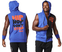 ◆4月新作◆メンズ◆Hip Hop Rebel Sleeveless Hoodie-Blue