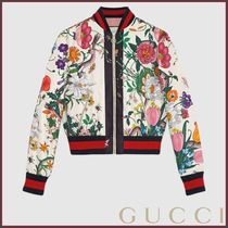 GUCCI(グッチ) Bomber in seta con stampa Flora Snake