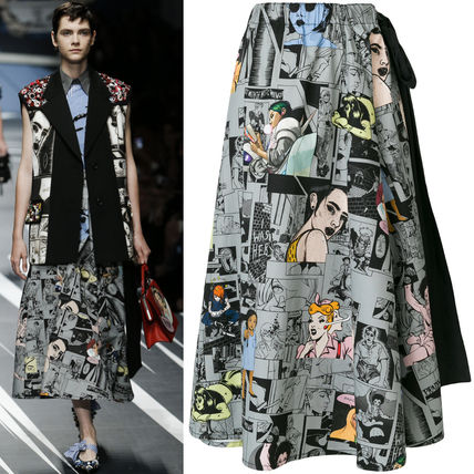 PR1118 LOOK49 COMICS PRINT COTTON SKIRT WITH RIBBON