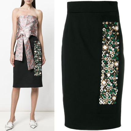 PR1120 EMBELLISHED STRETCH COTTON PENCIL SKIRT