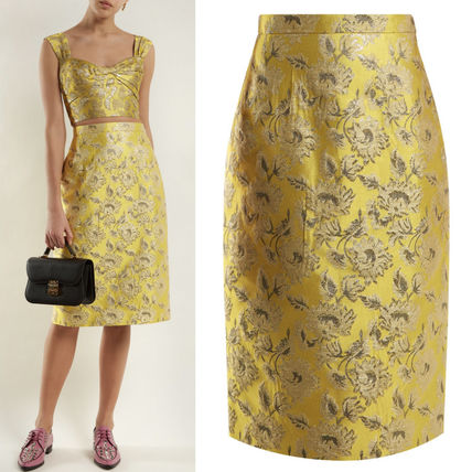 PR1121 FLORAL JACQUARD PENCIL SKIRT