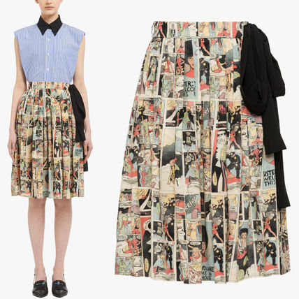 PR1122 COMICS PRINT SILK PLEATED SKIRT