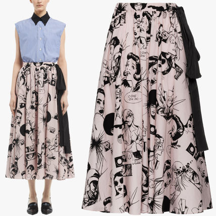 PR1125 COMICS PRINT COTTON MIDI SKIRT