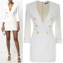 18SS BAL260 CREPE MINI DRESS WITH DOUBLE BREASTED DETAIL