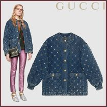 GUCCI(グッチ) Quilted marble denim jacket with crystals