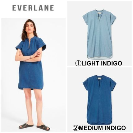 【EVERLANE】●最新●日本未入荷●The Splitneck Jean Dress