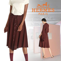 HERMES(エルメス)  Jupe a coulisse シルク フレアスカート