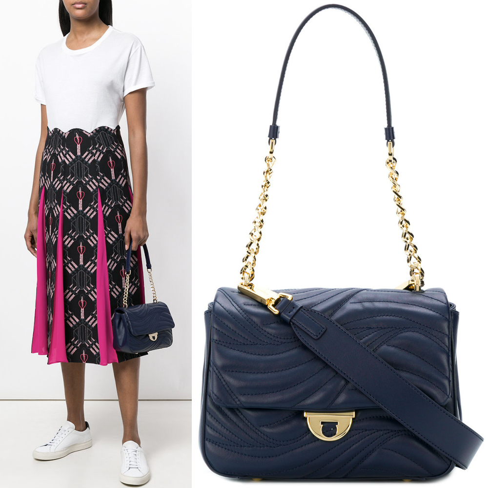 18SS SF142 WAVY-QUILTED LEATHER FLAP SHOULDER BAG (Salvatore Ferragamo/ショルダーバッグ・ポシェット) E 21G900 684295