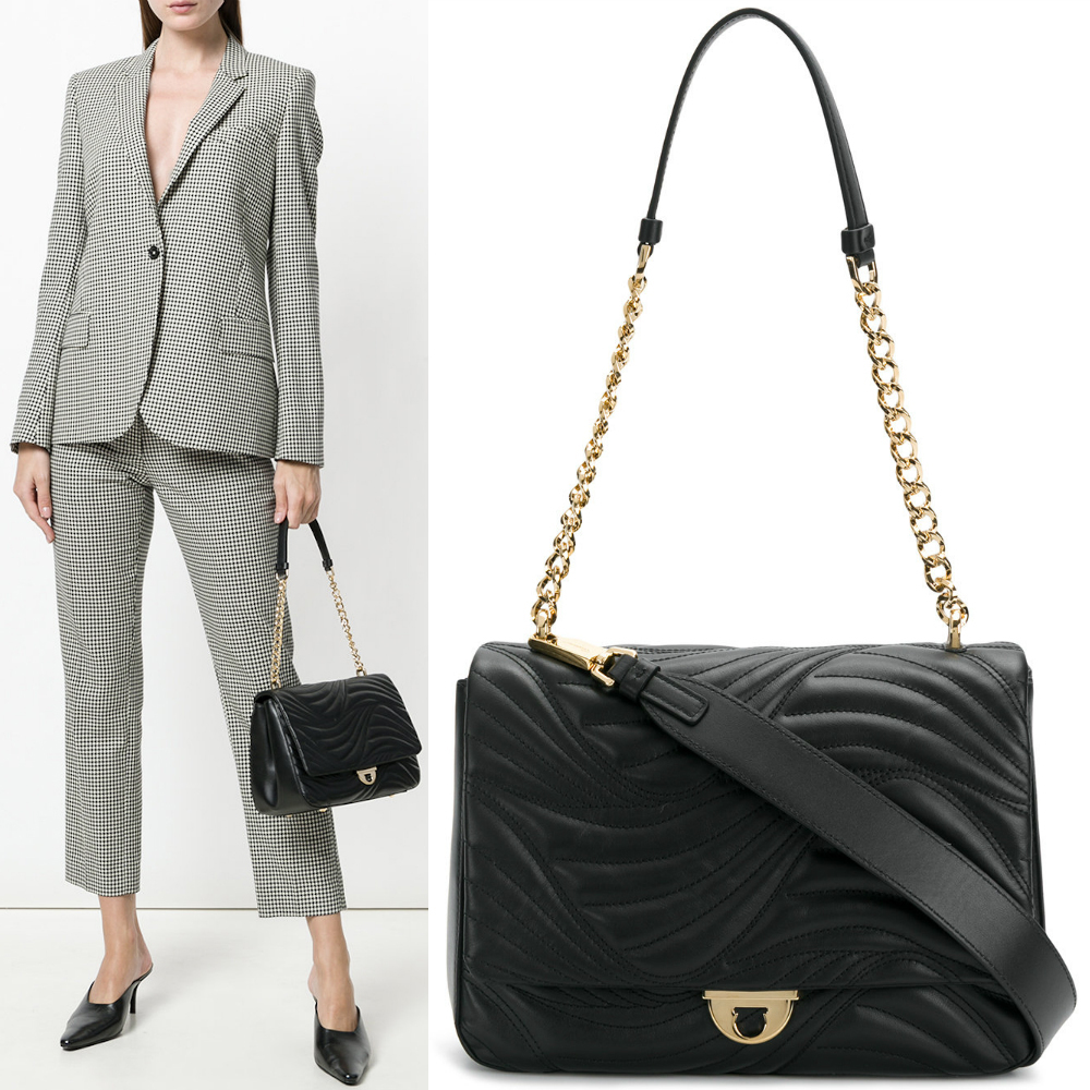 18SS SF144 WAVY-QUILTED LEATHER FLAP SHOULDER BAG (Salvatore Ferragamo/ショルダーバッグ・ポシェット) E 21G899 684288