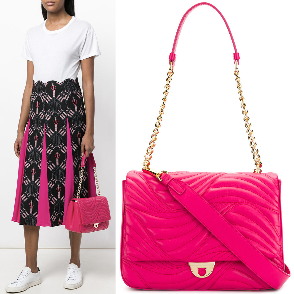 18SS SF146 WAVY-QUILTED LEATHER FLAP SHOULDER BAG (Salvatore Ferragamo/ショルダーバッグ・ポシェット) E 21G899 685012