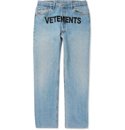 ☆ Vetements + Levis 501 Logo-Printed Denim Jeans ☆