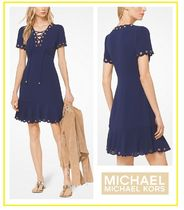 上品エレガントLace-Up Scalloped Crepe Dress☆Michael Kors