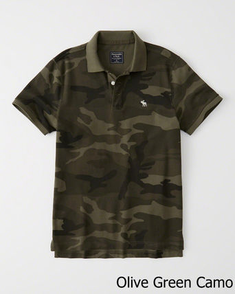 Abercrombie & Fitch ポロシャツ 即発可!アバクロンビー ストレッチ鹿子ポロシャツ/Olive Camo(2)