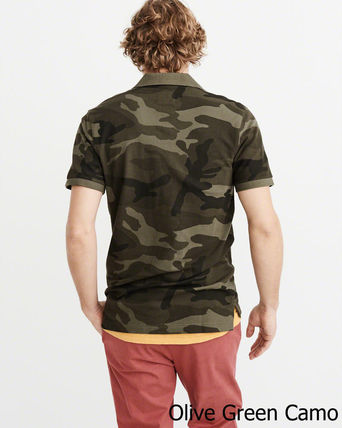 Abercrombie & Fitch ポロシャツ 即発可!アバクロンビー ストレッチ鹿子ポロシャツ/Olive Camo(4)