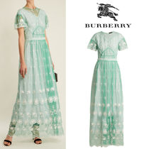 【RUNWAY】18SS★BURBERRY★Round-neck embroidered-tulle dress