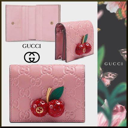 wholesale dealer 03ca6 9a297 すぐお届け GUCCI 日本限定 チェリー ピンクレザー ミニ財布