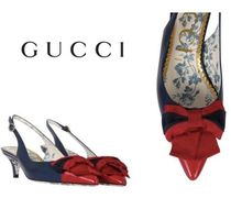 【GUCCI】leather slingbacks with Web ribbon