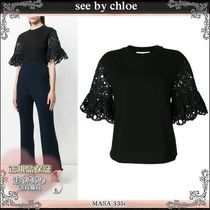 18SS☆送料込【see by chloe】 レーススリーブ Tシャツ