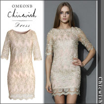 【国内発送・関税込】Chicwish★Golden Lace Embroidered Dress