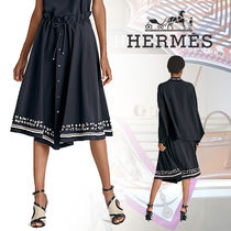 18SS 新作 HERMES(エルメス) Jupe a coulisse 刺繍スカート