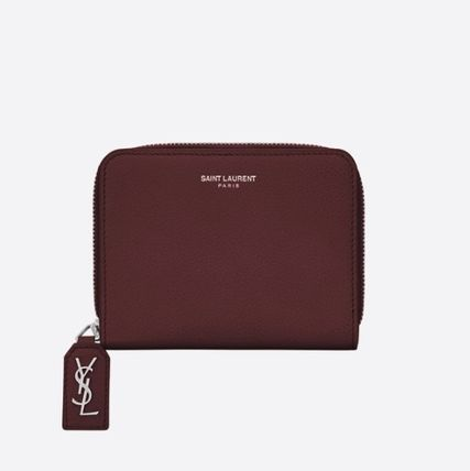 RIVE GAUCHE COMPACT ZIP AROUND WALLET IN DARK RED